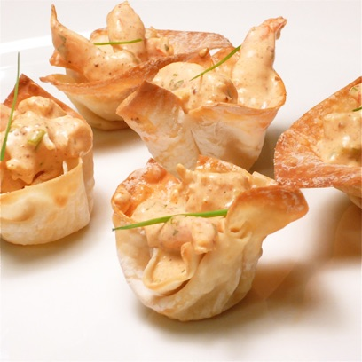 Shrimp in Crispy Wonton Cups